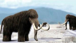 Artist's impression of herd of mammoths