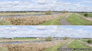 Ely by-pass before (top) and artist's impression of after