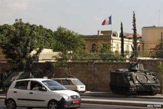 Lebanese tanks guard the French ambassador's residence in Beirut, 19 September