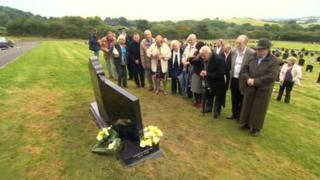 Unveiling of headstone at Sir Jimmy Savile's grave in Scarborough