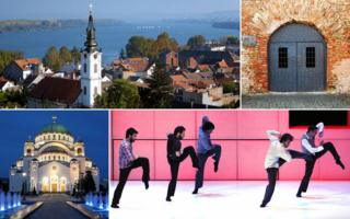 Clockwise from top left: St Nicholas church; Belgrade fortress; Belgrade dance festival 2009; Cathedral of St Sava