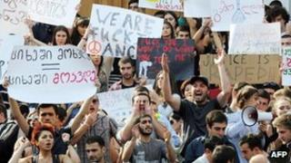 Georgian students protest against torture in prisons (20 Sept 2012)