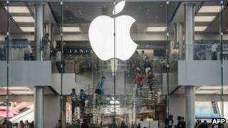 Customers at Apple store in Hong Kong