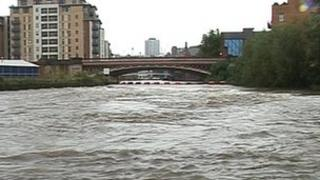 High water levels on River Aire, Leeds