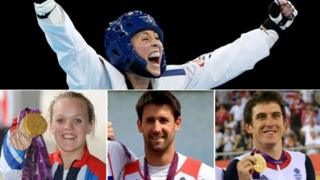 Top: Jade Jones (Getty); From bottom left: Ellie Simmonds (Getty), Tom James (PA), Geraint Thomas (PA)