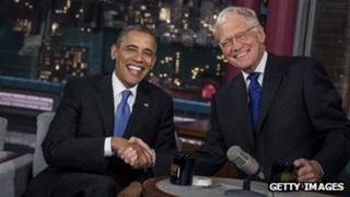David Letterman and Barack Obama