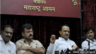 Ajit Pawar of NCP (second from right) with his party leaders at a news conference to announce his resignation as the deputy chief minister of Maharashtra in Mumbai.