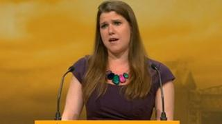 Jo Swinson speaking at Lib Dem conference