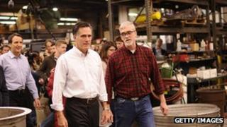 Mitt Romney visits a factory in New Hampshire