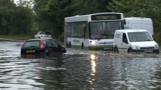 Flooding on the A659 between Otley and Pool