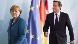 German Chancellor Angela Merkel and British Prime Minister David Cameron at a press conference in Berlin