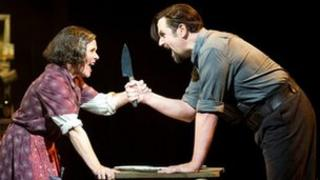 Imelda Staunton and Michael Ball in Sweeney Todd. Photo by Tristram Kenton