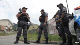 Rio policemen in the Chatuba community