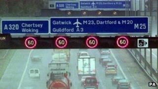 Variable speed limits on M25