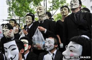 Anonymous protest in Tokyo