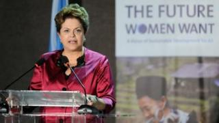 Brazilian president Dilma Rousseff, at Women's Right Conference at Rio+20