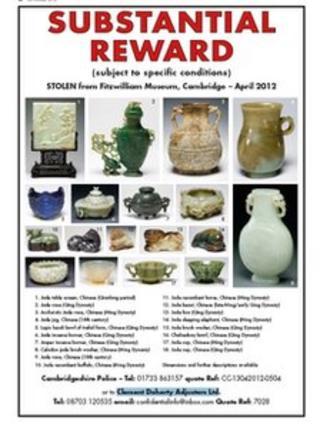 Advertisement for return of stolen art