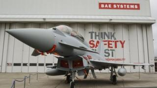 Eurofighter Typhoon outside a BAE Systems hangar