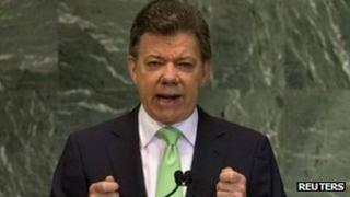 President of Colombia Juan Manuel Santos addresses the 67th session of the United Nations General Assembly at UN headquarters in New York, September 26, 2012