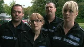 Police volunteers including PC Mark Fairclough (left)