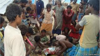 Casualties from shelling of the hospital area in Putumattalan, Sri Lanka