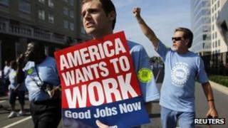Man demonstrates for good jobs in Charlotte, North Carolina 3 September 2012