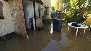 Flooded property in Littlehempston