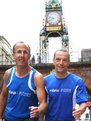 Race organisers Chris Hulse (left) and Andy White (right) underneath the Eastgate Clock in Chester