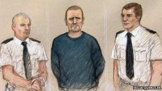 Mark Bridger appeared in the dock wearing a blue jumper