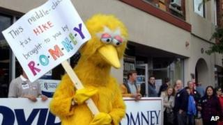 A person dressed up as Big Bird outside the Romney headquarters in New Hampshire on 8 October 2012