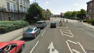 One set of traffic lights on St Margaret's Road, Cheltenham