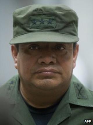 Guatemalan Colonel Juan Chiroy Sal, in court in Guatemala City