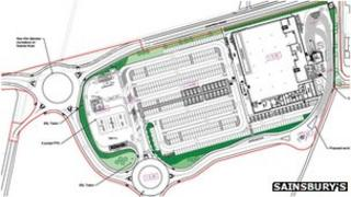 Plan for Sainsbury's in Whittlesey