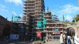 Scaffolding on the ruins of Coventry Cathedral spire