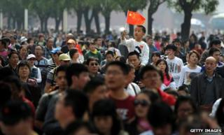 Crowd of people in China