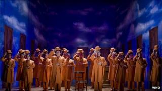 The chorus in the Welsh National Opera's production of The Magic Flute