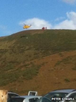 Paraglider rescued at Rhossili - photo by Peter Gingell