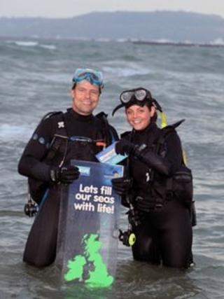 Chris Brown and Emily Madge, from the Weymouth Sea Life centre