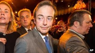 Bart De Wever arrives at the NV-A election party after they won the city elections in Antwerp Oct. 14, 2012.