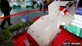 An atomic bomb model during China's 60th anniversary exhibition in Beijing, 23 September 2009