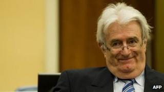 Radovan Karadzic on trial at The Hague, 16 October 2012