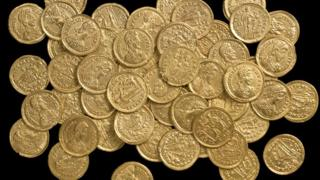 Part of a nationally significant find of 159 Late Roman gold coins found near St Albans in October 2012