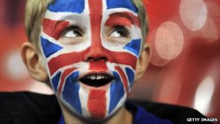 Boy in union flag facepaint