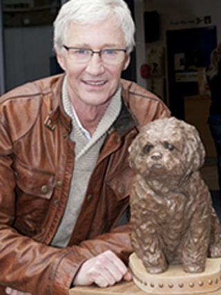 Paul O'Grady and Buster statue