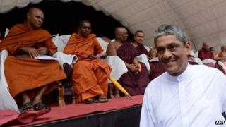 Sarath Fonseka at the Colombo rally