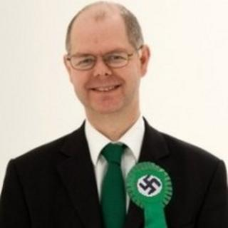 Mocked up picture of Stuart Jeffery wearing a swastika