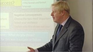 Boris Johnson at a school