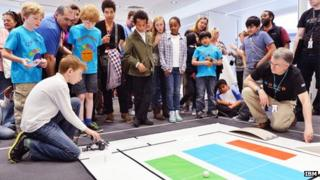 IBM volunteers running the annual IBM Robo-Challenge with Lambeth Primary Schools