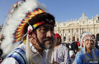 Native Americans on St Peter's Square, the Vatican, 21 October