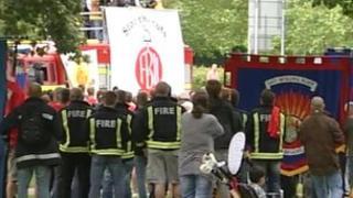 Striking Essex FBU members' rally